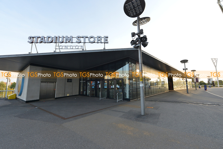 General view of the London Stadium Covid 19 Stadium Store Closed during West Ham United vs Newcastle United, Premier League Football at The London Stadium on 12th September 2020