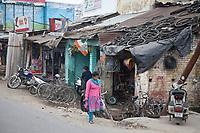 India, Dehradun.  Bicycle Tire Repair Shop.