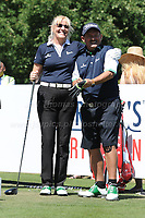 Jennifer Gibney and Brendan O'Carroll of Mrs Brown's Boys fame during the Bulmers 2018 Celebrity Cup at the Celtic Manor Resort. Newport, Gwent,  Wales, on Saturday 30th June 2018<br /> <br /> <br /> Jeff Thomas Photography -  www.jaypics.photoshelter.com - <br /> e-mail swansea1001@hotmail.co.uk -<br /> Mob: 07837 386244 -