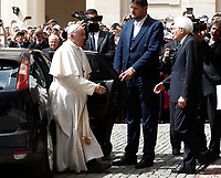 Pope Francis is welcomed by Italian President Sergio Mattarella (r) as he arrives at the Quirinale presidential palace on the occasion of an official visit. Rome, on June 10, 2017.<br /> UPDATE IMAGES PRESS/Isabella Bonotto<br /> STRICTLY ONLY FOR EDITORIAL USE