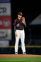 Rochester Red Wings starting pitcher Felix Jorge (47) looks in for the sign during the second game of a doubleheader against the Scranton/Wilkes-Barre RailRiders on August 23, 2017 at Frontier Field in Rochester, New York.  Rochester defeated Scranton 1-0.  (Mike Janes/Four Seam Images)