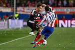 Atletico de Madrid´s Jesus Gamez and Bayer 04 Leverkusen´s Bellarabi during the UEFA Champions League round of 16 second leg match between Atletico de Madrid and Bayer 04 Leverkusen at Vicente Calderon stadium in Madrid, Spain. March 17, 2015. (ALTERPHOTOS/Victor Blanco)