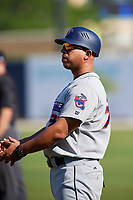 Jacksonville Jumbo Shrimp coach Jose Ceballos (30) during a game against the Biloxi Shuckers on May 6, 2018 at MGM Park in Biloxi, Mississippi.  Biloxi defeated Jacksonville 6-5.  (Mike Janes/Four Seam Images)