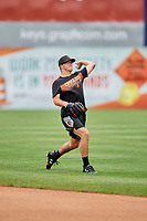 Frederick Keys pitcher Alex Wells (31) warms up before the first game of a doubleheader against the Lynchburg Hillcats on June 13, 2018 at Nymeo Field at Harry Grove Stadium in Frederick, Maryland.  Frederick defeated Lynchburg 3-0.  (Mike Janes/Four Seam Images)