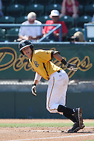 Garrett Hampson #1 of the Long Beach State Dirtbags bats against the Indiana Hoosiers at Blair Field on March 15, 2014 in Long Beach, California. Indiana defeated Long Beach State 2-1. (Larry Goren/Four Seam Images)