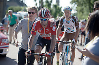 Greg Henderson (NZL/Lotto-Soudal) finishing the stage while covered with the bruises of the huge crash 60km before<br /> <br /> stage 3: Antwerpen (BEL) - Huy (BEL)<br /> 2015 Tour de France