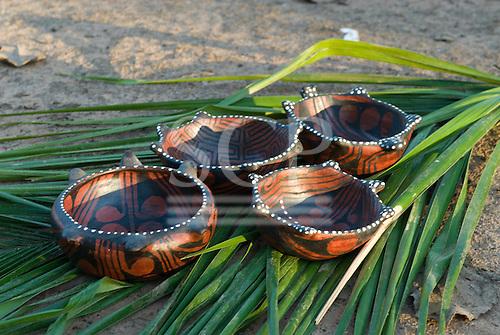 Xingu Indigenous Park, Mato Grosso State, Brazil. Aldeia Pequizal (Kaiabi). Traditional Yudja pottery.