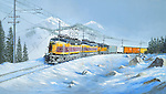 """Milwaukee Road """"Little Joe"""" tunnel motor electric locomotives pulling hard while cresting a ridge high in the Rocky Mountain winter snow. Oil on canvas, 16"""" x 28""""."""