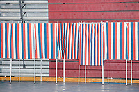 Voting booths stand empty during voting in the New Hampshire Presidential Primary at Bedford High School in Bedford, New Hampshire, on Tue., Feb. 11, 2020.
