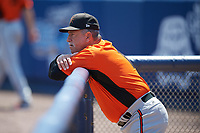 Frederick Keys manager Keith Bodie (11) before the first game of a doubleheader against the Wilmington Blue Rocks on May 14, 2017 at Daniel S. Frawley Stadium in Wilmington, Delaware.  Wilmington defeated Frederick 10-2.  (Mike Janes/Four Seam Images)