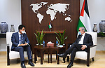 Palestinian Prime Minister Mohammed Ishtayeh meets with the representative of South Korea, Se Jin-sung, in the West Bank city of Ramallah, September 09, 2021. Photo by Prime Minister Office