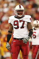 6 October 2007: Emmanuel Awofadeju during Stanford's 24-23 win over the #1 ranked USC Trojans in the Los Angeles Coliseum in Los Angeles, CA.
