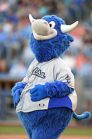 Tulsa Drillers mascot Hornsby during the second game of a doubleheader against the Frisco Rough Riders on May 29, 2014 at ONEOK Field in Tulsa, Oklahoma.  Frisco defeated Tulsa 3-2.  (Mike Janes/Four Seam Images)