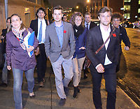 (left to right) FEUQ spokesperson Martine Desjardins, FECQ spokesperson Leo Bureau-Blouin, and CLASSE spokersperson Gabriel Nadeau-Dubois leave the building after a day of negotiation with Quebec education Minister Michelle Courchesne in Quebec City Tuesday May 29, 2012. The students and the Quebec government meet for the second day in a row to try to solve a strike over tuition fee that goes for more than 100 days.<br /> <br /> PHOTO :  Francis Vachon - Agence Quebec Presse