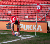20th March 2021, Oakwell Stadium, Barnsley, Yorkshire, England; English Football League Championship Football, Barnsley FC versus Sheffield Wednesday; Alex Mowatt of Barnsley sets the ball down to take a corner