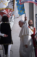 Bandwriters and Musicals Alfieri of Cardinal Borghese of Artena in the province of Rome, Italy.Pope Francis during of a weekly general audience at St Peter's square in Vatican.September 20, 2017.