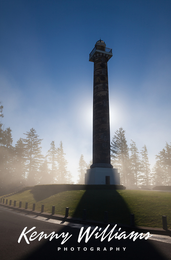Astoria Column at Sunrise, Fog surrounding Tower, Astoria, Oregon