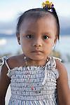 Portrait of a young Kuna child, Isla Pelikano, San Blas Islands, Kuna Yala, Panama