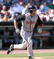 June 15th 2008:  Second baseman John Tolisano of the Lansing Lugnuts, Class-A affiliate of the Toronto Blue Jays, during a game at Dow Diamond in Midland, MI.  Photo by:  Mike Janes/Four Seam Images