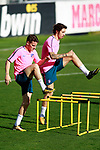Atletico de Madrid's Kevin Gameiro (l) and Sime Vrsaljko during training session. September 26,2017.(ALTERPHOTOS/Acero)