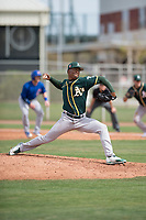 Oakland Athletics relief pitcher Miguel Romero (47) delivers a pitch to the plate during a Minor League Spring Training game against the Chicago Cubs at Sloan Park on March 13, 2018 in Mesa, Arizona. (Zachary Lucy/Four Seam Images)