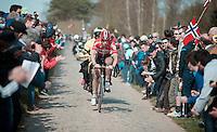 Jurgen Roelandts (BEL/Lotto-Soudal) is race leader and managed a 20 second lead over his competitors on the infamous Carrefour de l'Arbre (2.1 km). <br /> <br /> 113th Paris-Roubaix 2015