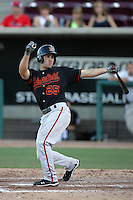 Jonathan Greene of the Bakersfield Blaze during game against the Lake Elsinore Storm at The Diamond in Lake Elsinore,California on July 25, 2010. Photo by Larry Goren/Four Seam Images