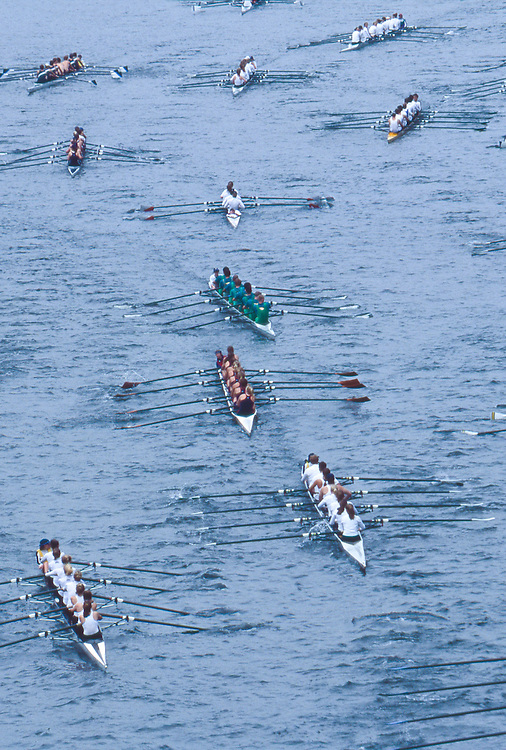 Rowers, Seattle, Windermere Cup Regatta, post race row, Lake Washington Ship Canal, Opening day of the competitive rowing season,