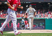 21 June 2015: Pittsburgh Pirates starting pitcher Charlie Morton steps back to the mound after serving up a 3-run homer to Washington Nationals Yunel Escobar in the first inning at Nationals Park in Washington, DC. The Nationals defeated the Pirates 9-2 to sweep their 3-game weekend series, and improve their record to 37-33. Mandatory Credit: Ed Wolfstein Photo *** RAW (NEF) Image File Available ***