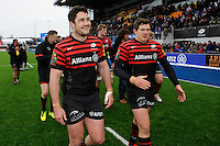 20130324 Copyright onEdition 2013©.Free for editorial use image, please credit: onEdition..Brad Barritt (left) and Alex Goode of Saracens enjoy a victory lap after the Premiership Rugby match between Saracens and Harlequins at Allianz Park on Sunday 24th March 2013 (Photo by Rob Munro)..For press contacts contact: Sam Feasey at brandRapport on M: +44 (0)7717 757114 E: SFeasey@brand-rapport.com..If you require a higher resolution image or you have any other onEdition photographic enquiries, please contact onEdition on 0845 900 2 900 or email info@onEdition.com.This image is copyright onEdition 2013©..This image has been supplied by onEdition and must be credited onEdition. The author is asserting his full Moral rights in relation to the publication of this image. Rights for onward transmission of any image or file is not granted or implied. Changing or deleting Copyright information is illegal as specified in the Copyright, Design and Patents Act 1988. If you are in any way unsure of your right to publish this image please contact onEdition on 0845 900 2 900 or email info@onEdition.com