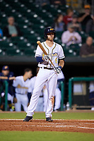 Montgomery Biscuits third baseman Grant Kay (6) at bat during a game against the Mississippi Braves on April 24, 2017 at Montgomery Riverwalk Stadium in Montgomery, Alabama.  Montgomery defeated Mississippi 3-2.  (Mike Janes/Four Seam Images)