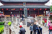 Nanjing, Jiangsu, China.  Visitors in the Courtyard of the Confucian temple.