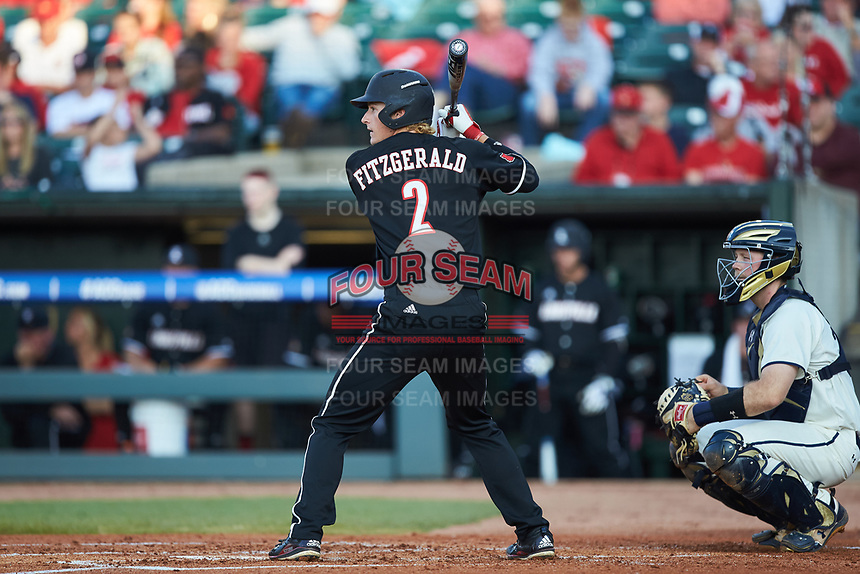 Tyler Fitzgerald (2) of the Louisville Cardinals at bat against the Notre Dame Fighting Irish in Game Eight of the 2017 ACC Baseball Championship at Louisville Slugger Field on May 25, 2017 in Louisville, Kentucky. The Cardinals defeated the Fighting Irish 10-3. (Brian Westerholt/Four Seam Images)