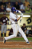 LSU Tigers second baseman JaCoby Jones #23 connects against the Mississippi State Bulldogs during the NCAA baseball game on March 16, 2012 at Alex Box Stadium in Baton Rouge, Louisiana. LSU defeated Mississippi State 3-2 in 10 innings. (Andrew Woolley / Four Seam Images)