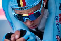 Wout van Aert (BEL/Jumbo-Visma) warming up pre-race<br /> <br /> Men Elite Individual Time Trial <br /> from Knokke-Heist to Bruges (43.3 km)<br /> <br /> UCI Road World Championships - Flanders Belgium 2021<br /> <br /> ©kramon
