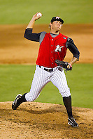 Relief pitcher Brandon Kloess #31 of the Kannapolis Intimidators in action against the Augusta GreenJackets at Fieldcrest Cannon Stadium June 24, 2010, in Kannapolis, North Carolina.  Photo by Brian Westerholt / Four Seam Images