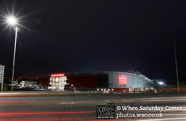 Rotherham 1 Sheffield Wednesday 2, 23/10/2015. New York Stadium, Championship. Second-half goals from Lucas Joao and Fernando Forestieri gave Sheffield Wednesday a derby victory at Rotherham. The New York Stadium, Rotherham at dusk. Photo by Paul Thompson.