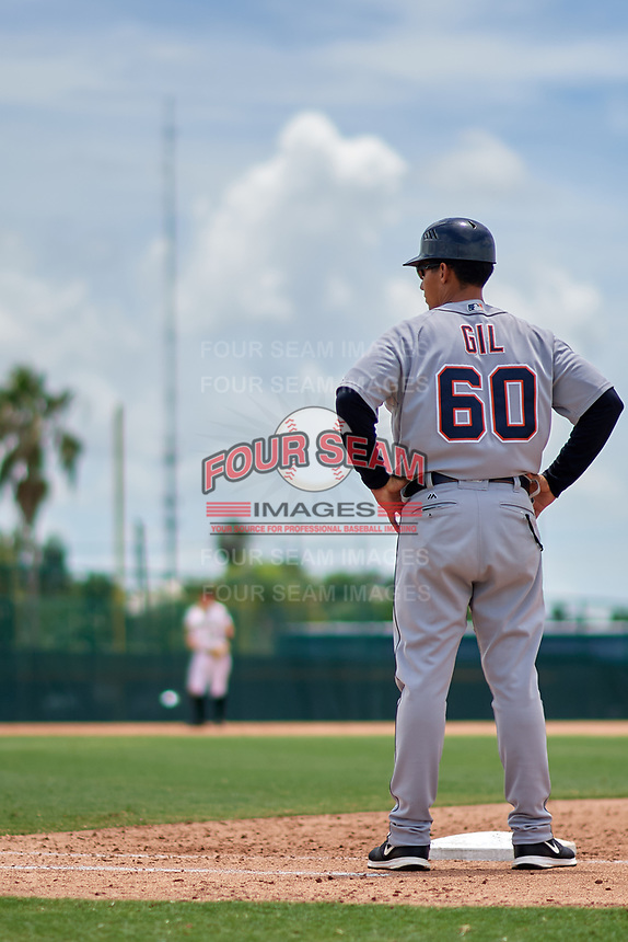GCL Tigers West coach Rafael Gil (60) during a game against the GCL Pirates on August 13, 2018 at Pirate City Complex in Bradenton, Florida.  GCL Tigers West defeated GCL Pirates 5-1.  (Mike Janes/Four Seam Images)