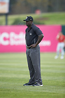 Umpire James Jean handles the calls on the bases during the South Atlantic League game between the Rome Braves and the Kannapolis Intimidators at Kannapolis Intimidators Stadium on April 7, 2019 in Kannapolis, North Carolina. The Intimidators defeated the Braves 2-1. (Brian Westerholt/Four Seam Images)
