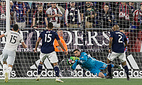 Foxborough, MA - May 25, 2019:  First half action. In a Major League Soccer (MLS) match, New England Revolution (blue/white) vs D.C. United (white), at Gillette Stadium on May 25, 2019 in Foxborough, MA. (Photo by Andrew Katsampes/ISI Photos).