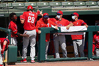 Philadelphia Phillies Alec Bohm (28) high fives manager Joe Girardi (25) after scoring a run during a Major League Spring Training game against the Baltimore Orioles on March 12, 2021 at the Ed Smith Stadium in Sarasota, Florida.  (Mike Janes/Four Seam Images)