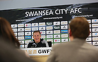Pictured: Swansea manager Garry Monk speaks to members of the media during a pre-match Swansea v Manchester United press conference at the Liberty Stadium, Swansea, south Wales. Thursay 19 February 2015