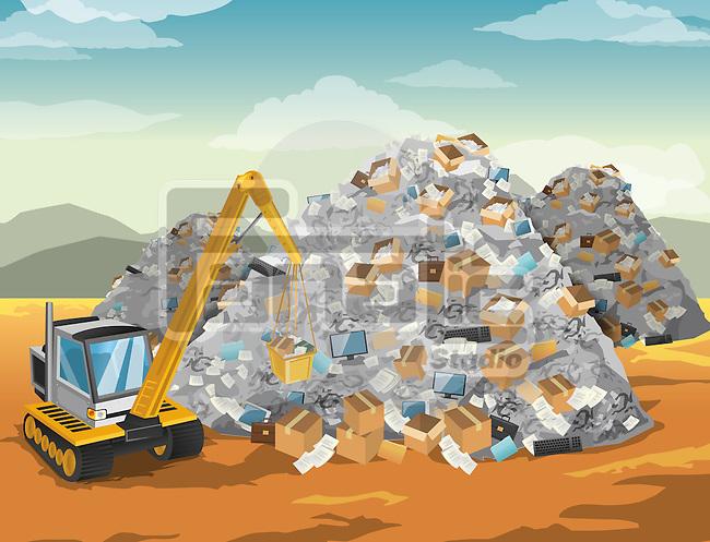 Bulldozer moving garbage dump