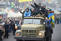 Supporters of Euromiadan celebrating the Yanukovich ouster in Maidan square