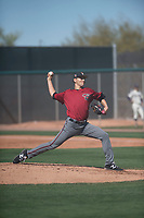Arizona Diamondbacks relief pitcher Jeff Bain (48) delivers a pitch to the plate during a Spring Training game against Meiji University at Salt River Fields at Talking Stick on March 12, 2018 in Scottsdale, Arizona. (Zachary Lucy/Four Seam Images)
