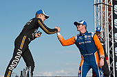 2nd place finnisher Marcus Ericsson, Arrow Schmidt Peterson Motorsports Honda, greets winner Scott Dixon, Chip Ganassi Racing Honda, on the victory podium