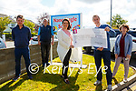 Cheque Presentation Pat Healy presenting a  cheque for €710.00, the proceeds of a go fund Me Page  during the Punchestowen Festival to Suzanne Grourke of the Nano Nagle School, Listowel. Also in picture Berkie Browne, Christy Walsh & Gabrielle Browne, Principal.