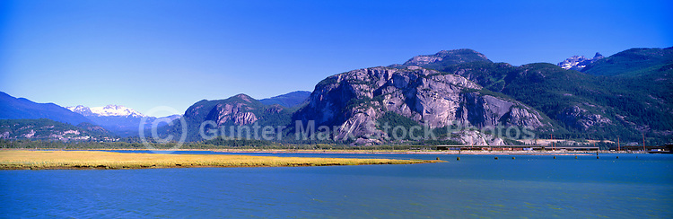 Squamish, BC, British Columbia, Canada - Panoramic View across Howe Sound to Stawamus Chief (Rock Climbing Mountain) in Stawamus Chief Provincial Park (Coast Mountains), Summer