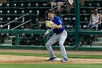 Rancho Cucamonga Quakes first baseman Devin Mann (33) during a California League game against the Visalia Rawhide on April 8, 2019 in Visalia, California. Rancho Cucamonga defeated Visalia 4-1. (Zachary Lucy/Four Seam Images)