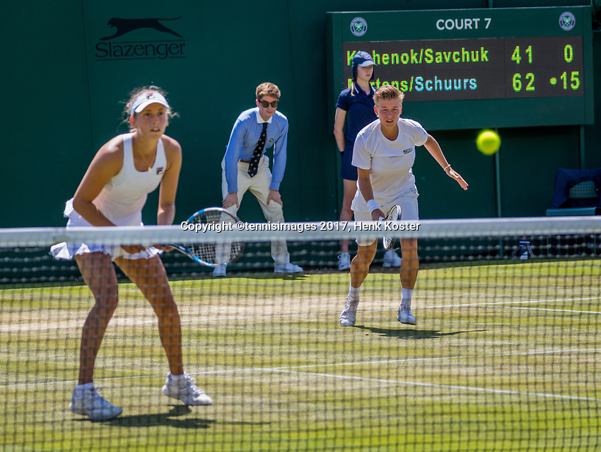 London, England, 7 th July, 2017, Tennis,  Wimbledon, Womans doubles: Elise Mertens (BEL) / Demi Schuurs (NED) (R)<br /> Photo: Henk Koster/tennisimages.com